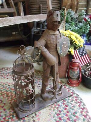 Rustic Rusty Primitive Vintage Tin Knight With Candle Lantern Gothic Mid Century