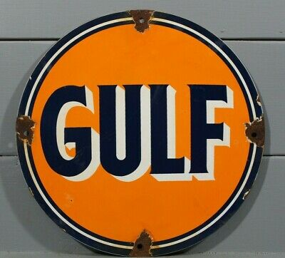Vintage Style Gulf Gasoline Porcelain Sign Gas Station Oil Metal Pump Plate Ad