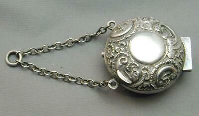 Antique George Unite Sterling Repousse Chatelaine Coin Holder Purse