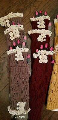 Womens fingerless gloves laced topped knitted button OR pearl accents