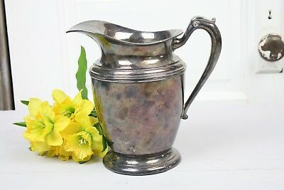 Vintage Silverplate Water Pitcher Signed Crescent Elegant Shape Form