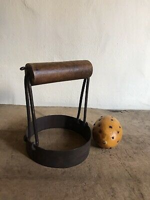 Old Antique BIG Handmade Wood & Iron Biscuit Cutter AAFA Patina