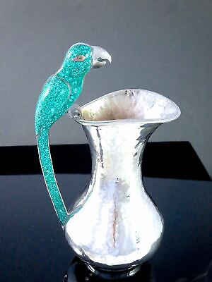 Vintage TAXCO MEXICO Hammered Silver Plated PARROT PITCHER