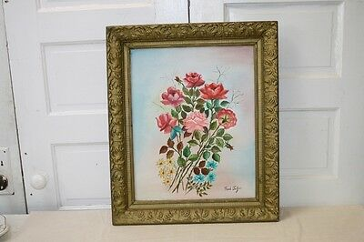 Oil Painting on Canvas Floral Roses on the Vine Pink Red Blue Yellow Flowers