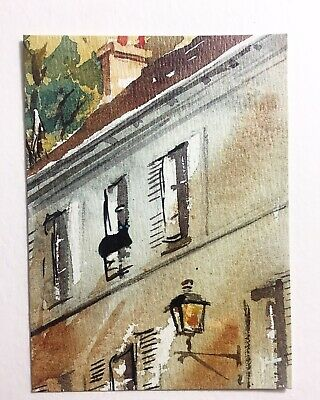 Original ACEO Cat Landscapes Cityscape Watercolor Painting By N.Collins
