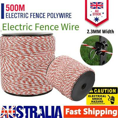 AU 500m Polywire Roll Electric Fence Energiser Stainless Poly Wire Insulator NEW