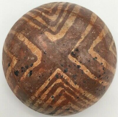 Ancient Antique Pre-Columbian Nayarit Polychrome Geometric Red Pottery Bowl