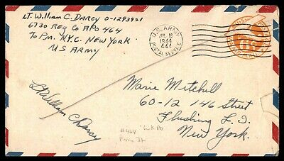 Apo 464 6730Th Reg Co Lieutenant Rome Italy July 16 1944 Air Mail Cover To Flush