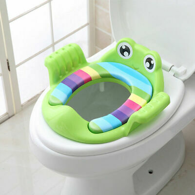 Baby Toilet Seat Cartoon Handle Soft Pad Portable Frog Cushion Potty Trainer