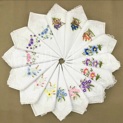 6pcs Women Vintage Cotton Embroidery Flower Lace Floral Hankies Handkerchief AU