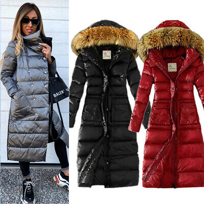 Womens Hooded Long Coat Parka Winter Warm Down Padded Quilted Puffer Jacket Size