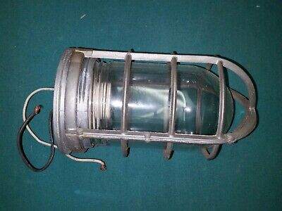 Vintage Explosion Proof Industrial Steampunk Factory Cage Light