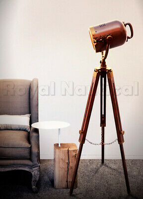 Antique Finish Brown Spotlight Floor Lamp Wooden Tripod Stand Home Decor