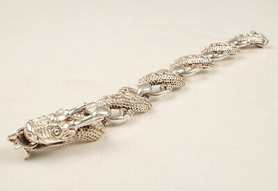 China Tibet Silver Hand Casting Dragon Statue Bracelet Gift Collec Old
