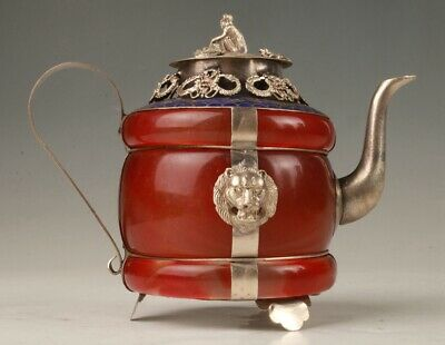 China Tibetan Silver Jade Hand Carving Dragon Monkey Lion Teapot Decora