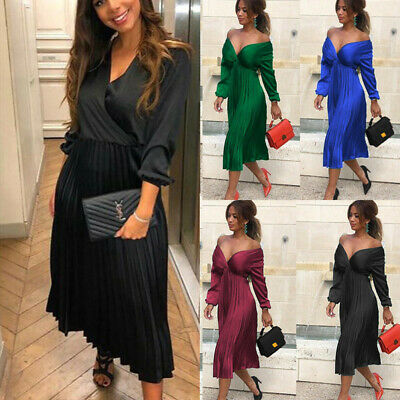 Fashion Womens Solid Simple Pleated Dress Ladies Long Sleeve Casual Party Dress