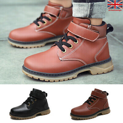 Kids Boys Girls Childrens Martin Ankle Boots Hiking Riding Combat Casual Shoes