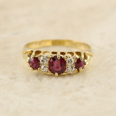 Victorian Ruby and Diamond Ring 18ct Yellow Gold