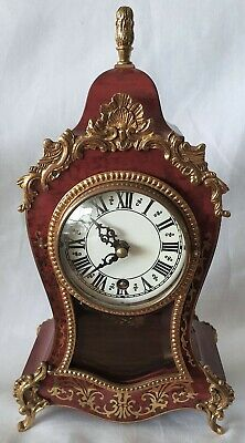 Miniature Boulle Clock Wind Up 8 Day Movemnent And Brass Pendulum Vintage