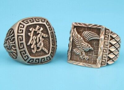 2 Retro Chinese Tibetan Silver Ring Statue Bird Old Craft Collection Gift