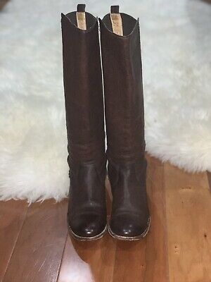Women's Frye Molly Gore Dark Brown Leather  Stretch Riding Boots US 8.5
