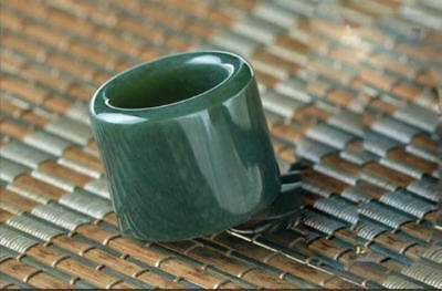Chinese Natural hetian jade carved symbol BanZhi exalted atmosphere Thumb ring