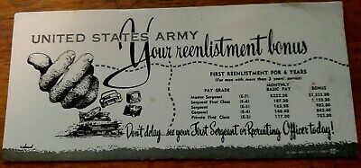 Vintage WWII Signed U S Army Advertising Recruiting Blotter With Pay Grades!!