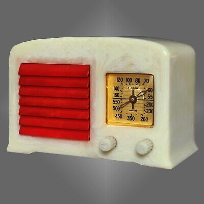 "FADA 5F50 Catalin Radio- Alabaster with ""Cherry"" Red Grille Art Deco"