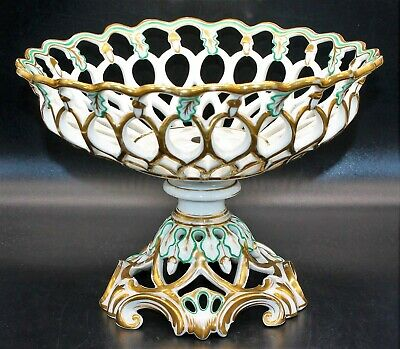 Beautiful White Paris Porcelain Reticulated Acorn Pedestal Bowl w/ Gold & Green