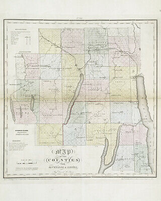 1829 Map of Ontario and Yates Counties New York