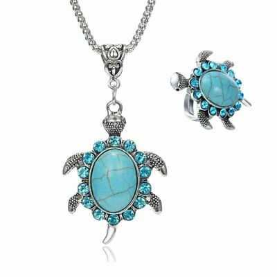 Charm Cute Animal Necklace Rings Sea Turtle Silver Filled Pendant Women Jewelry