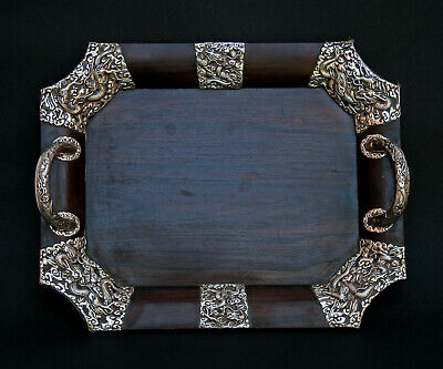 Exceptional Antique Chinese Silver Hard Wood Mounted Tray Huanghuali ? Dragons