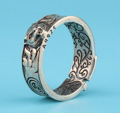 China 925 Silver Hand-Carved Tiger Head Ring Exclusive Custom Gift Collec Old