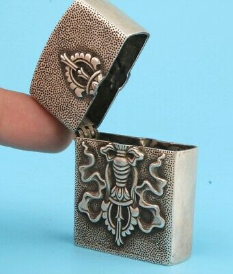 China Tibet Silver Hand-Carved Cigarette Lighter Box Practical Gift Old