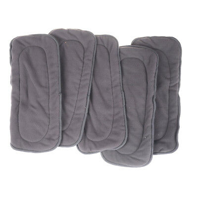 5Pcs/Pack 4 Layers Bamboo Fiber Charcoal Washable Cloth Diaper Nappies Inse I2