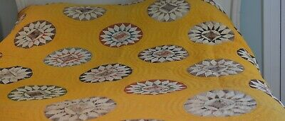 Antique QUILT with CIRCLES & STARS on Marigold Ground VV2
