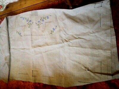 Unused Hand Made Square Linen French Tablecloth With Embroidered Corn Flowers