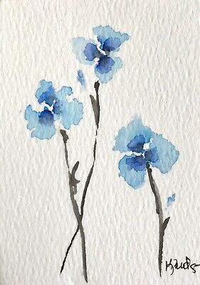 Original ACEO ATC Watercolor Painting Flowers Forget Me Nots Blue Art Card