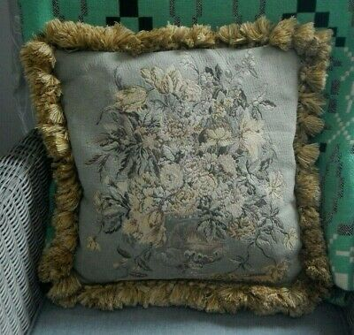 Vintage Jacquard Aged Tapestry Floral Cushion With Tassels~Material Revivals