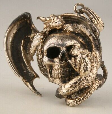 China Old Copper Plated-Silver Hand - Carved Skull Statue Pendant Collection