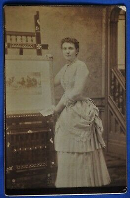 Cabinet Photo Woman White Bustle Dress Holds Painting No Photographer Info