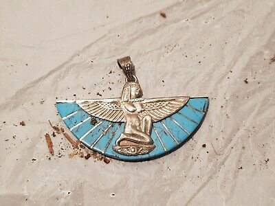 Rare Antique Ancient Egyptian Silver Hanger God Isis Health Cure Medi1870-1770BC