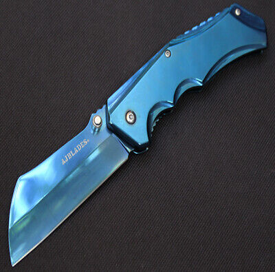 """8"""" TACTICAL BLUE Cleaver Razor Thumb Open Spring Assisted P/Knife AJ503BL"""
