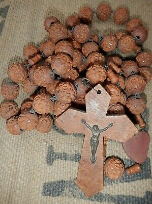 Antique Very Large French Hand Carved Wooden Rosary Bead Necklace & Wooden Cross