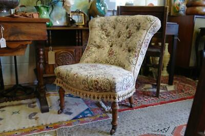 Antique Victorian Country House Ladies Chair Walnut, Original Brass Castors CHIC