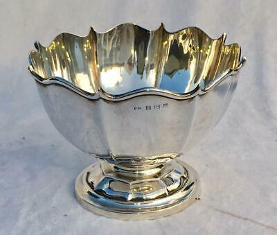 "5.75"" Antique Hm 1906 Sterling Silver Fluted Rose Bowl By Zimmerman"
