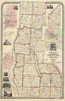 1853 Map of Cayuga County New York from actual surveys Auburn