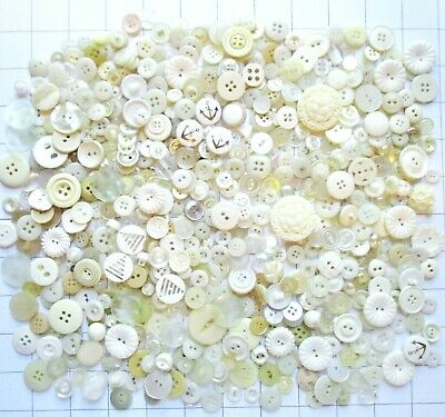 Vintage Modern Lot White Clear Buttons Many Sets