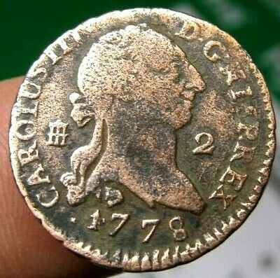 excellent 1778 PIRATE COBS SPANISH 4 Maravedis Colonial Coin Carlos CHARLES III