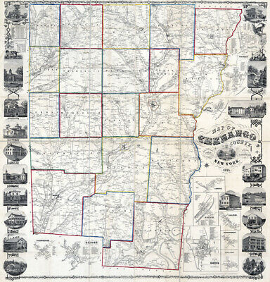 1855 Map of Chenango County New York from actual surveys Norwich